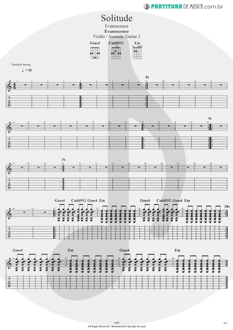 Tablatura + Partitura de musica de Violão - Solitude | Evanescence | Evanescence 1998 - pag 1