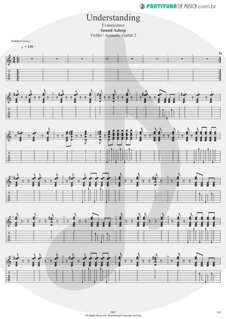 Tablatura + Partitura de musica de Violão - Understanding | Evanescence | Sound Asleep EP 1999 - pag 1