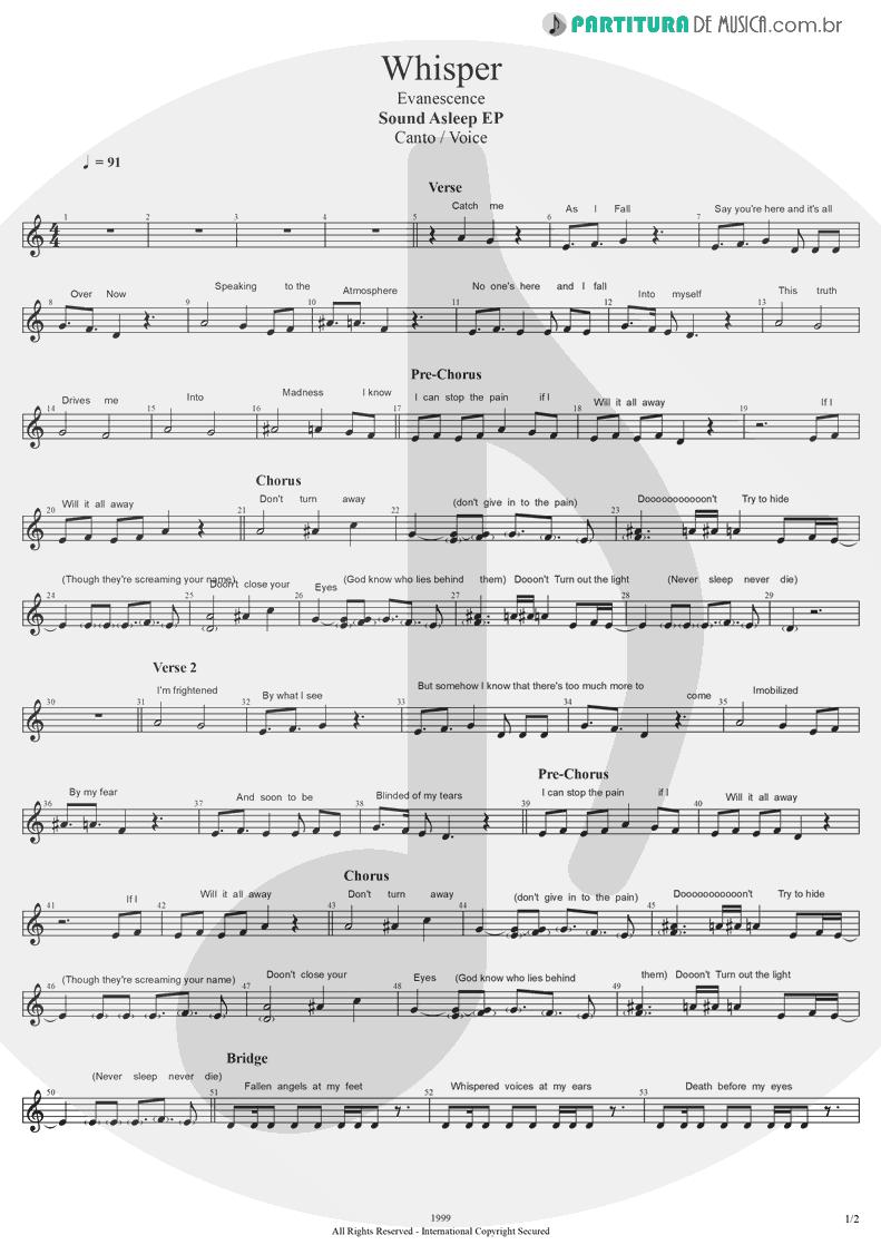 Partitura de musica de Canto - Whisper   Evanescence   Sound Asleep EP 1999 - pag 1