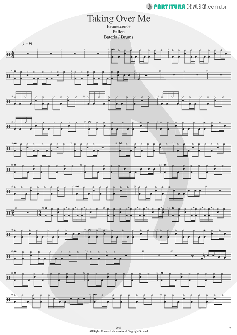 Partitura de musica de Bateria - Taking Over Me | Evanescence | Fallen 2003 - pag 1