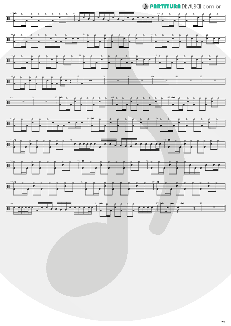 Partitura de musica de Bateria - Taking Over Me | Evanescence | Fallen 2003 - pag 2