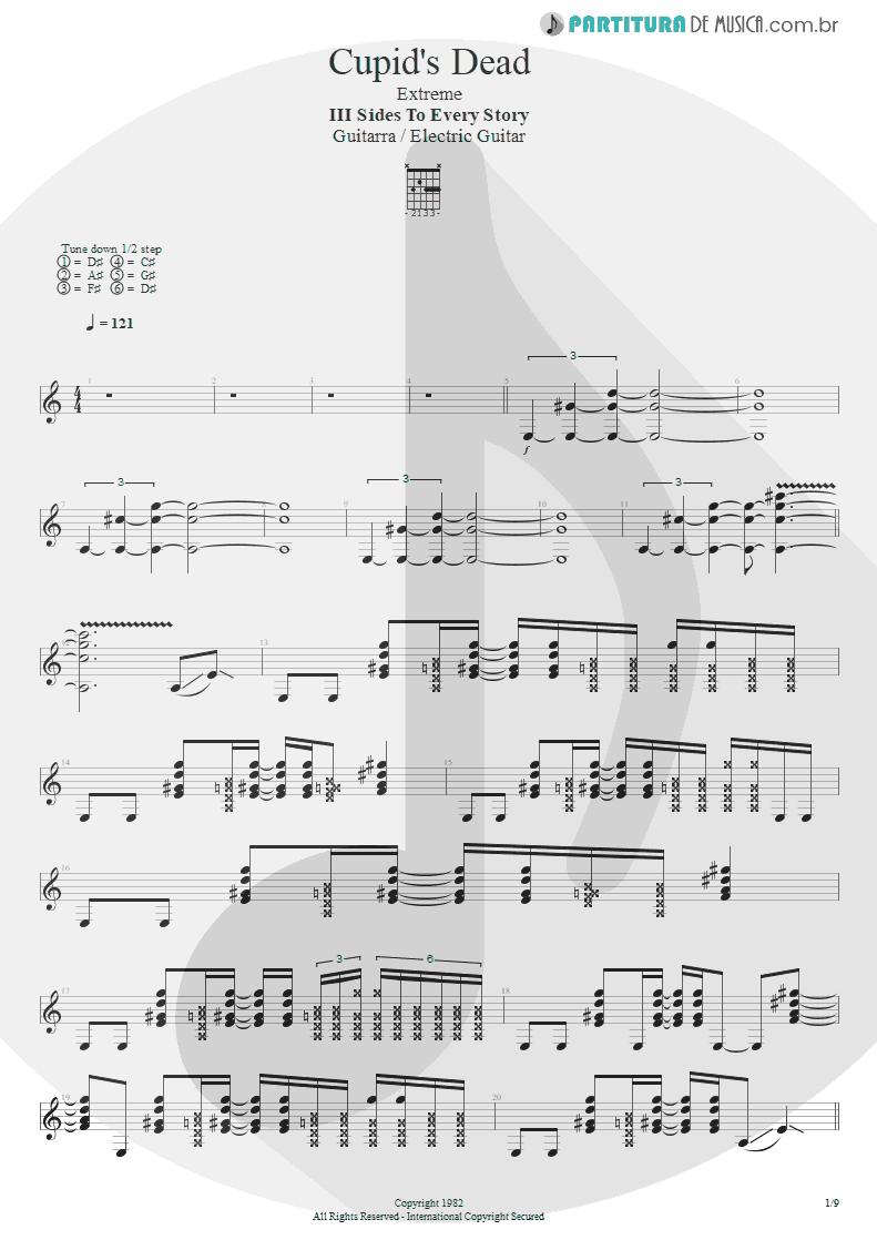 Partitura de musica de Guitarra Elétrica - Cupid's Dead | Extreme | III Sides to Every Story 1982 - pag 1