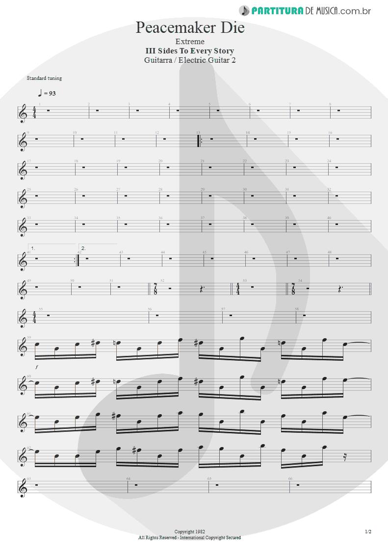 Partitura de musica de Guitarra Elétrica - Peacemaker Die | Extreme | III Sides to Every Story 1982 - pag 1