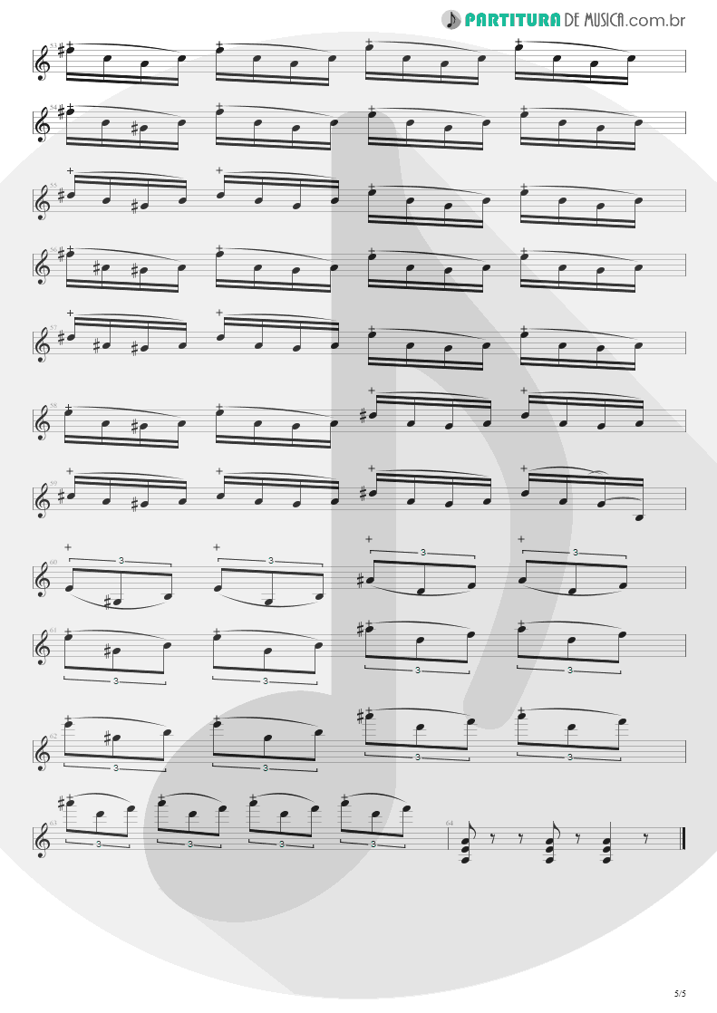 Partitura de musica de Guitarra Elétrica - Flight Of The Wounded Bumble Bee | Extreme | Take Us Alive 2010 - pag 5