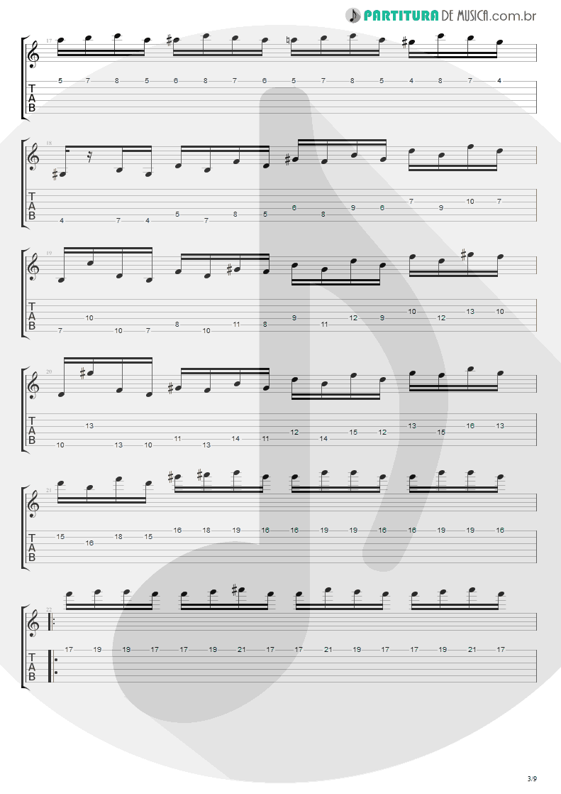 Tablatura + Partitura de musica de Guitarra Elétrica - Flight Of The Wounded Bumble Bee   Extreme   Take Us Alive 2010 - pag 3