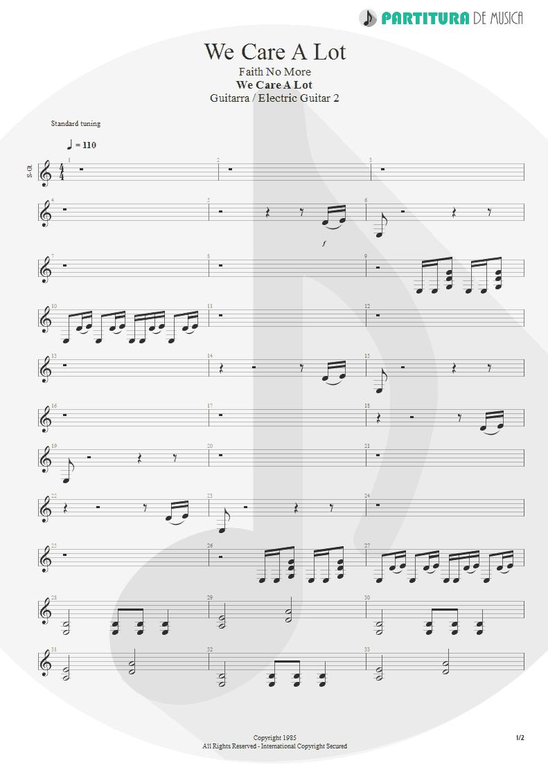 Partitura de musica de Guitarra Elétrica - We Care a Lot   Faith No More   We Care A Lot 1985 - pag 1