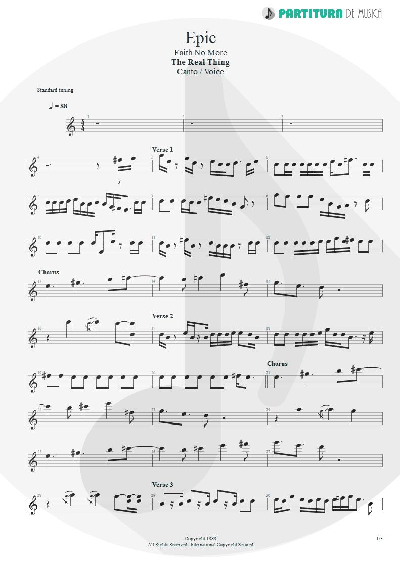 Partitura de musica de Canto - Epic | Faith No More | The Real Thing 1989 - pag 1