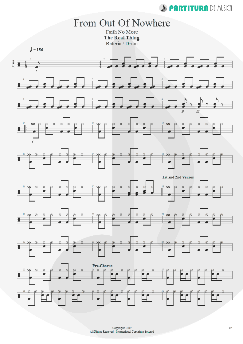 Partitura de musica de Bateria - From Out Of Nowhere | Faith No More | The Real Thing 1989 - pag 1