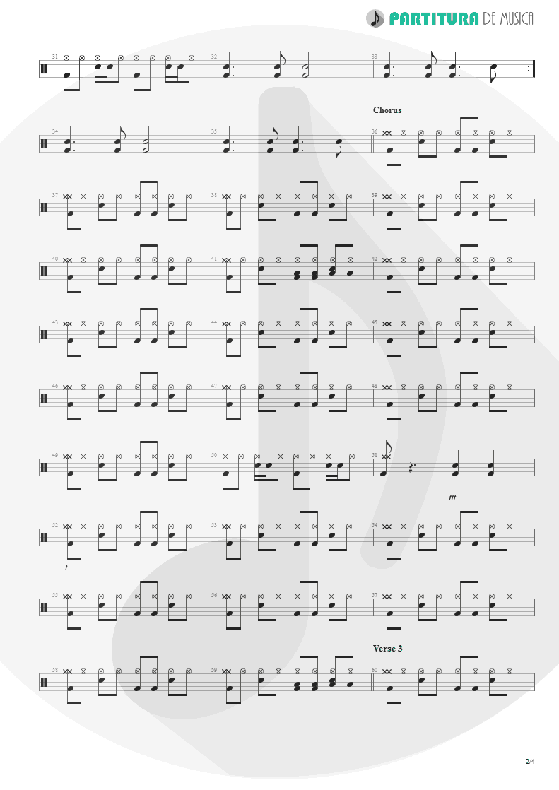 Partitura de musica de Bateria - From Out Of Nowhere | Faith No More | The Real Thing 1989 - pag 2