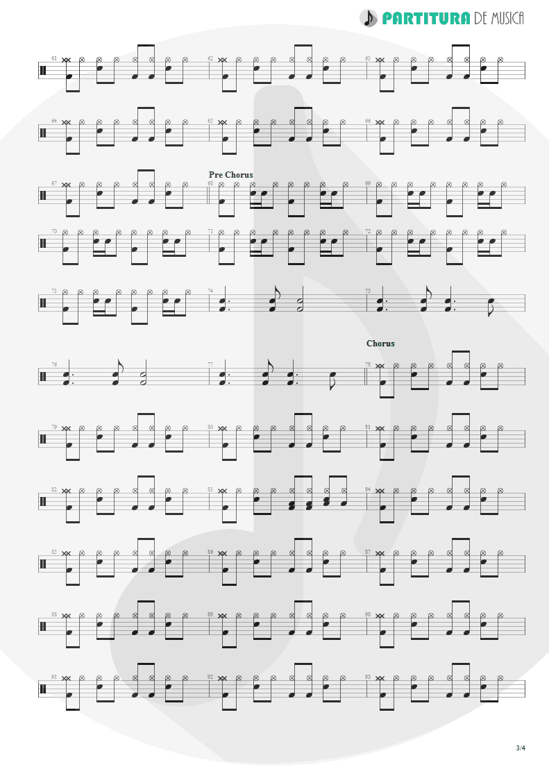 Partitura de musica de Bateria - From Out Of Nowhere | Faith No More | The Real Thing 1989 - pag 3