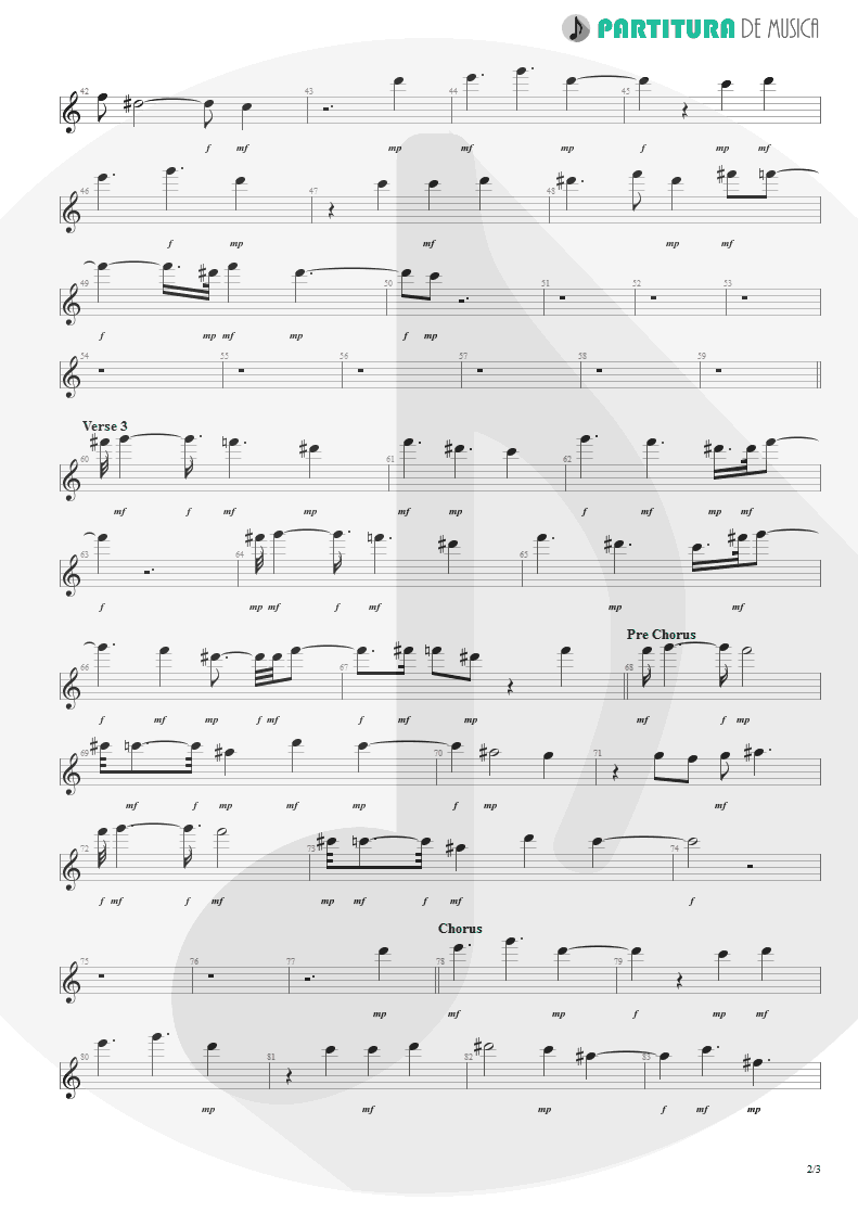 Partitura de musica de Canto - From Out Of Nowhere | Faith No More | The Real Thing 1989 - pag 2