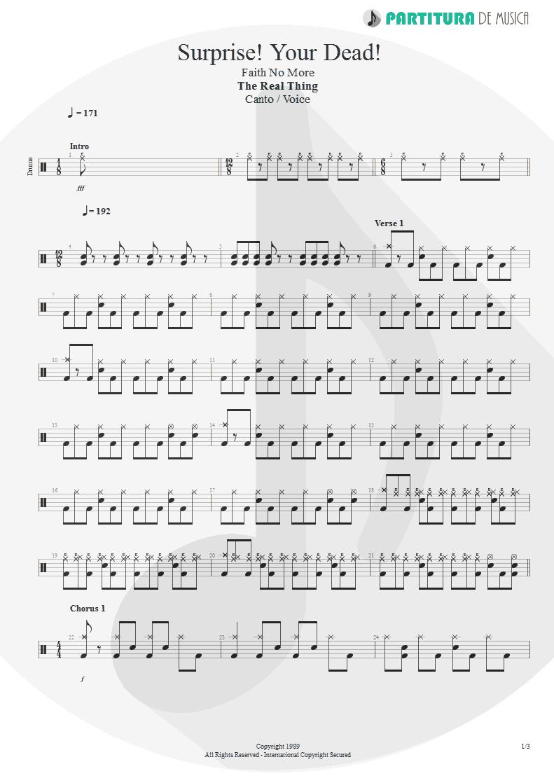 Partitura de musica de Canto - Surprise! Your Dead! | Faith No More | The Real Thing 1989 - pag 1