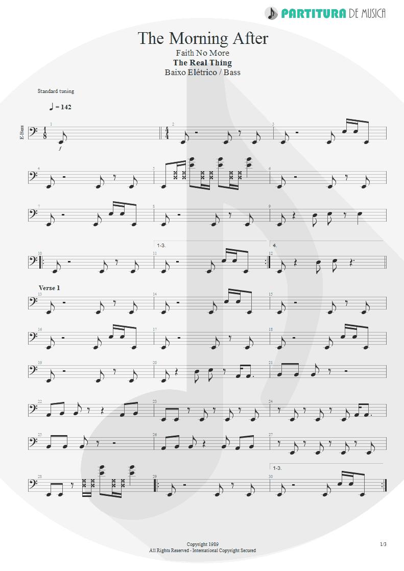 Partitura de musica de Baixo Elétrico - The Morning After | Faith No More | The Real Thing 1989 - pag 1