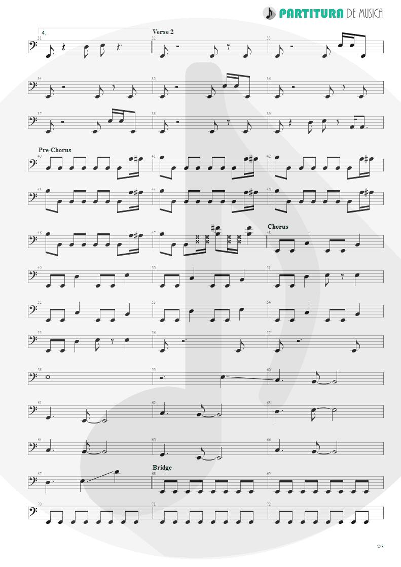 Partitura de musica de Baixo Elétrico - The Morning After | Faith No More | The Real Thing 1989 - pag 2