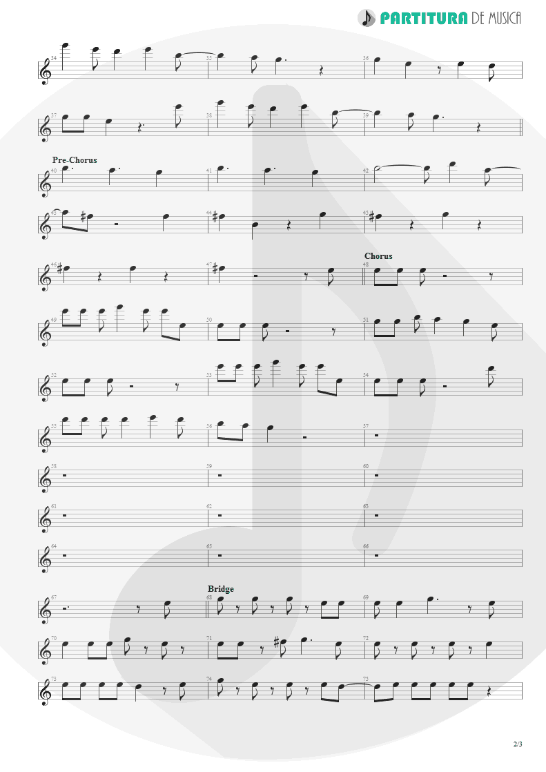 Partitura de musica de Canto - The Morning After | Faith No More | The Real Thing 1989 - pag 2