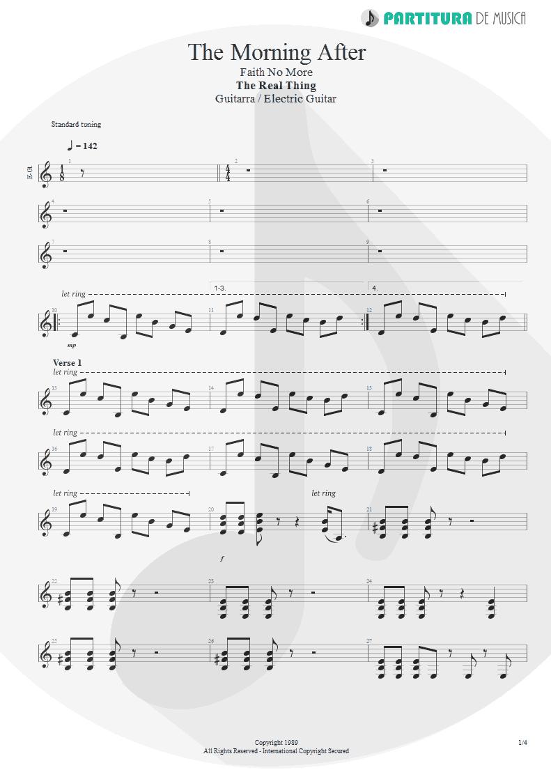 Partitura de musica de Guitarra Elétrica - The Morning After | Faith No More | The Real Thing 1989 - pag 1