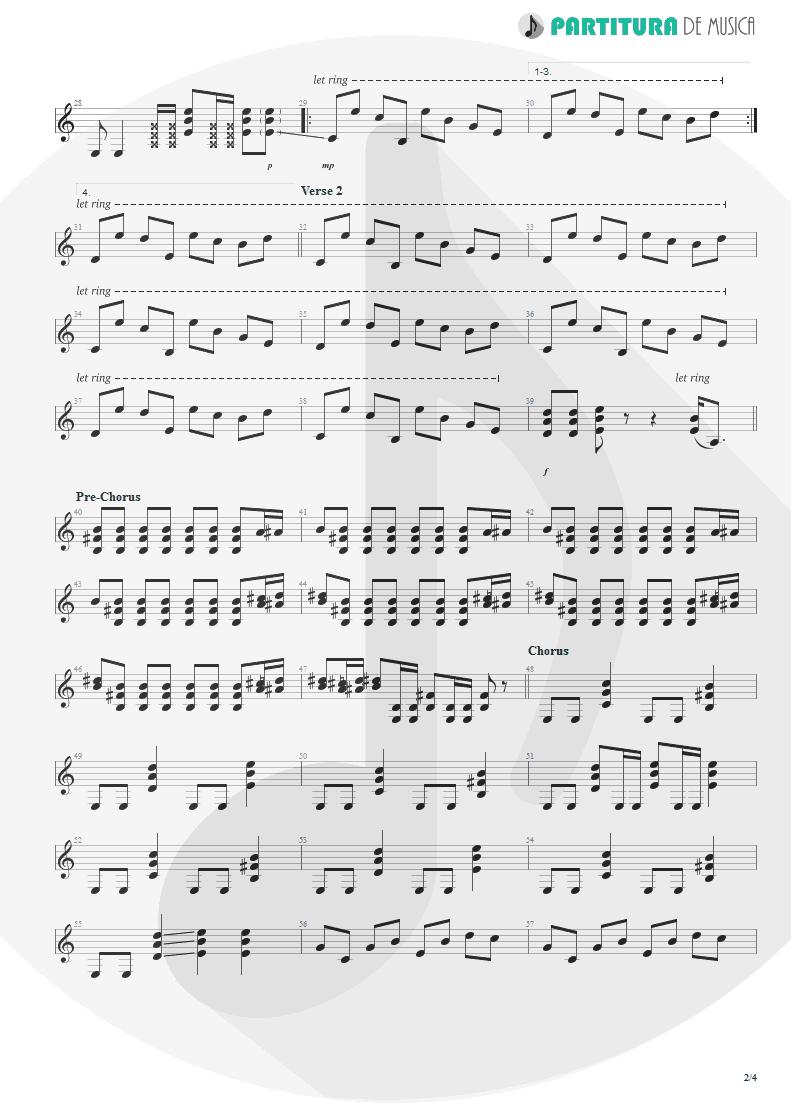 Partitura de musica de Guitarra Elétrica - The Morning After | Faith No More | The Real Thing 1989 - pag 2