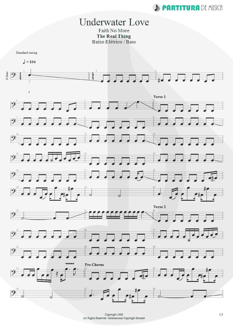 Partitura de musica de Baixo Elétrico - Underwater Love | Faith No More | The Real Thing 1989 - pag 1