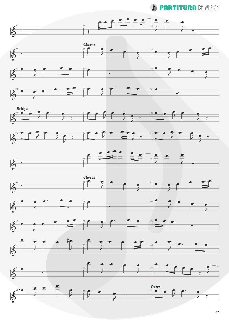 Partitura de musica de Canto - Underwater Love | Faith No More | The Real Thing 1989 - pag 2
