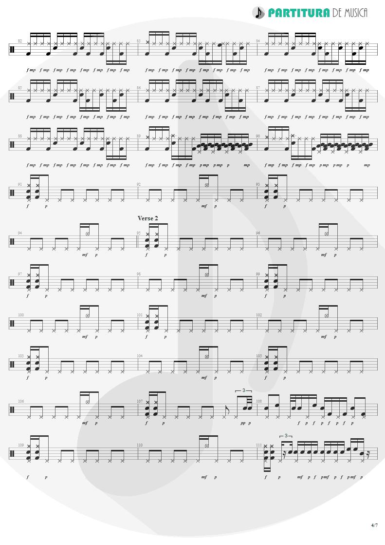 Partitura de musica de Bateria - War Pigs | Faith No More | The Real Thing 1989 - pag 4