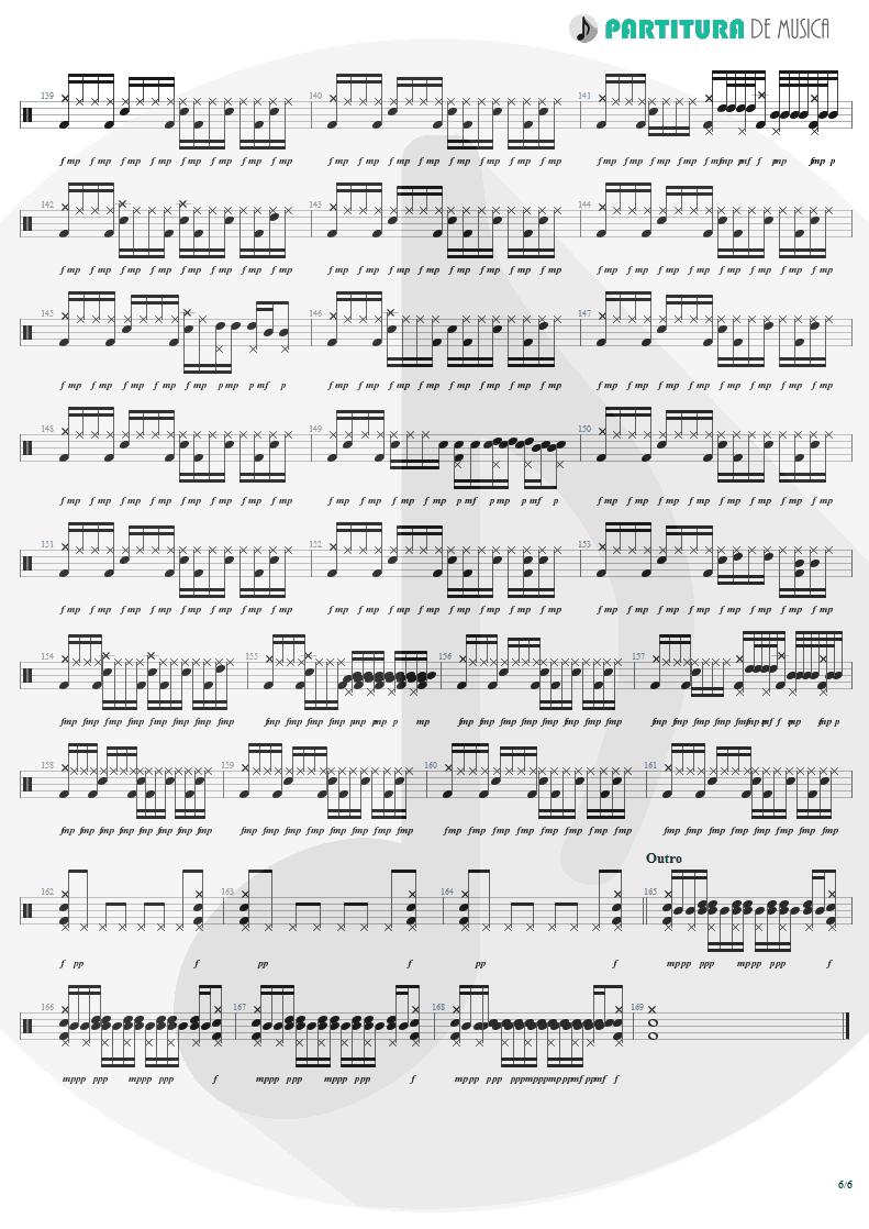 Partitura de musica de Bateria - War Pigs | Faith No More | The Real Thing 1989 - pag 6