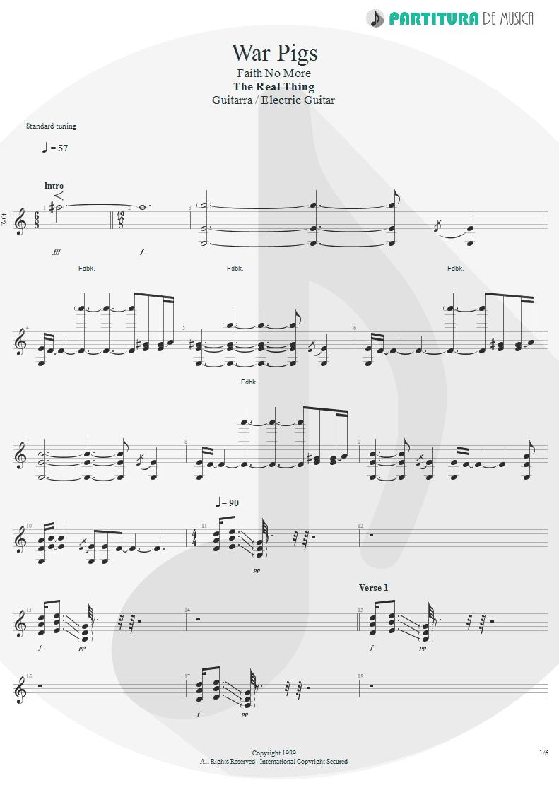 Partitura de musica de Guitarra Elétrica - War Pigs | Faith No More | The Real Thing 1989 - pag 1