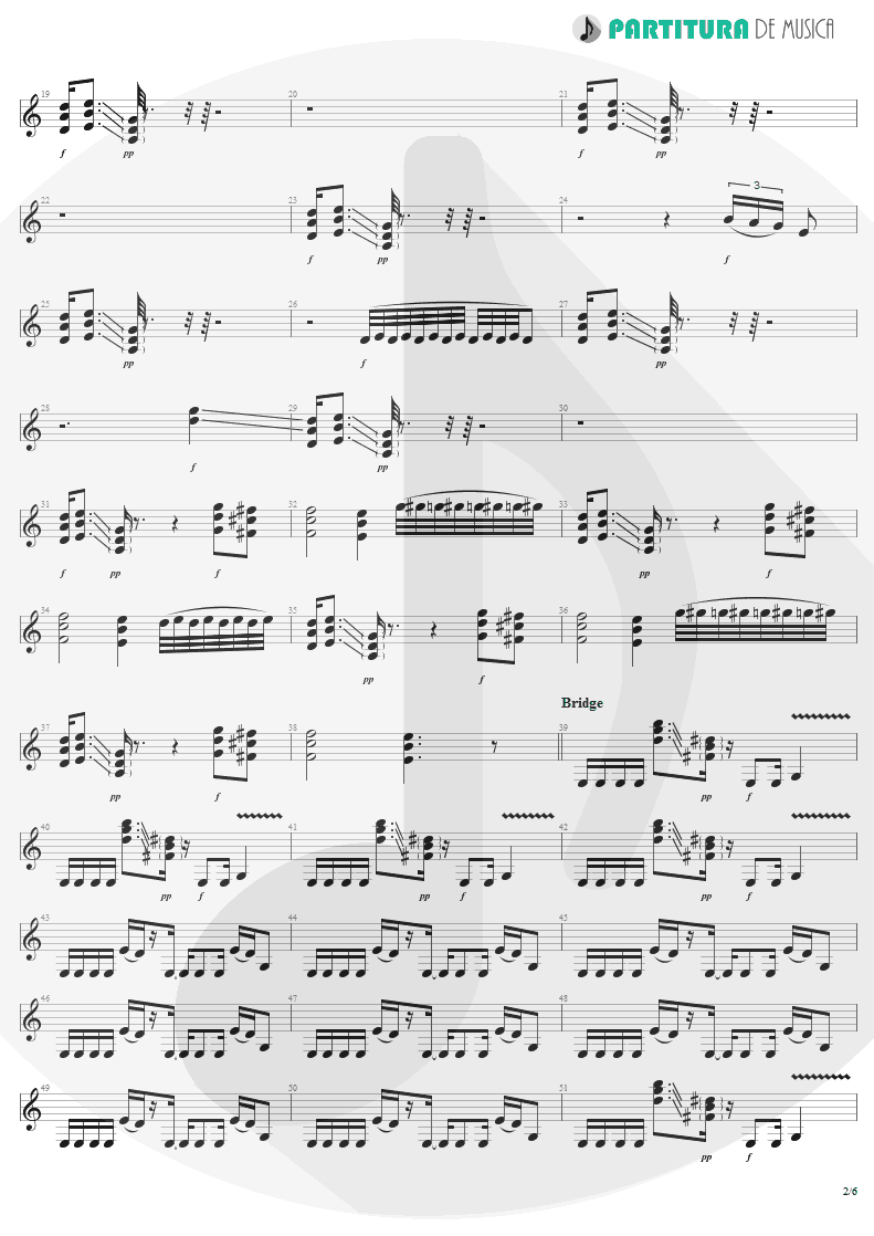 Partitura de musica de Guitarra Elétrica - War Pigs | Faith No More | The Real Thing 1989 - pag 2