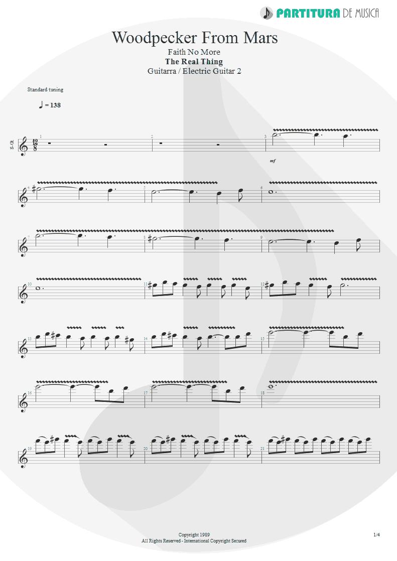 Partitura de musica de Guitarra Elétrica - Woodpecker From Mars   Faith No More   The Real Thing 1989 - pag 1