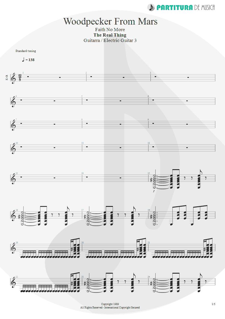 Partitura de musica de Guitarra Elétrica - Woodpecker From Mars | Faith No More | The Real Thing 1989 - pag 1