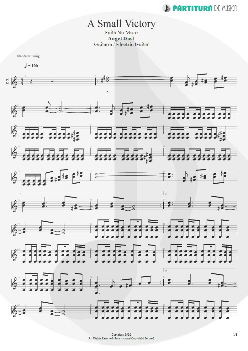 Partitura de musica de Guitarra Elétrica - A Small Victory | Faith No More | Angel Dust 1992 - pag 1