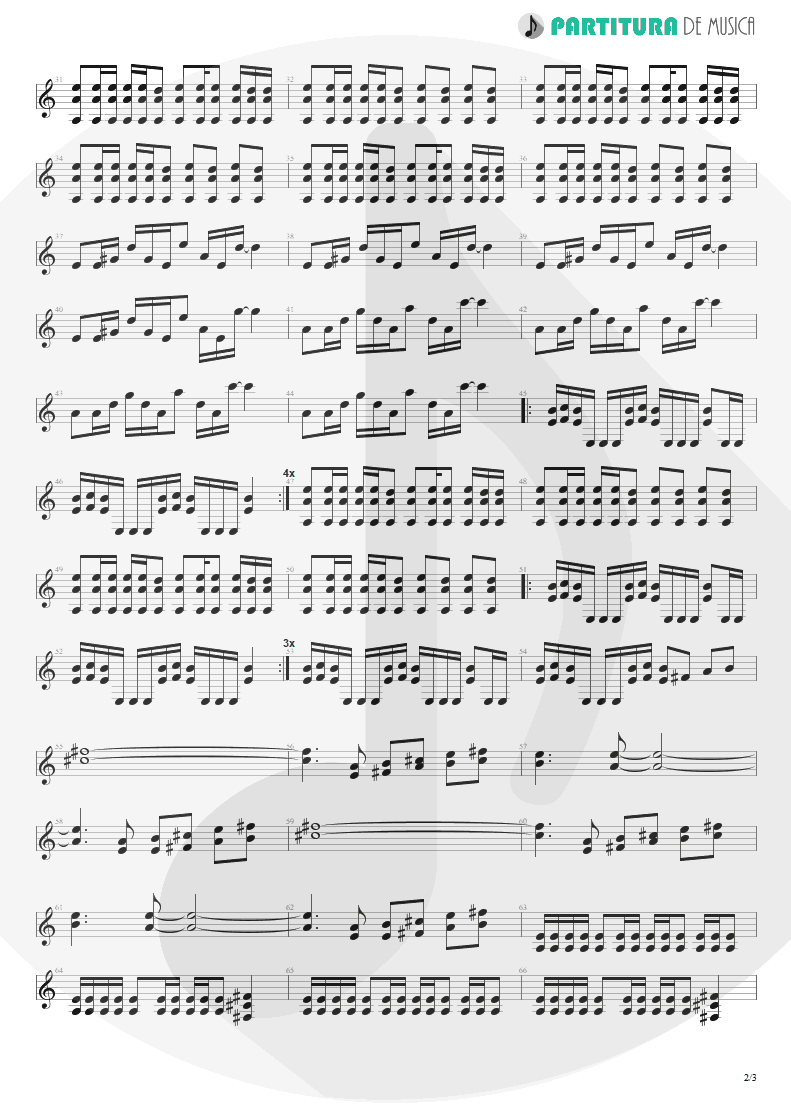 Partitura de musica de Guitarra Elétrica - A Small Victory | Faith No More | Angel Dust 1992 - pag 2