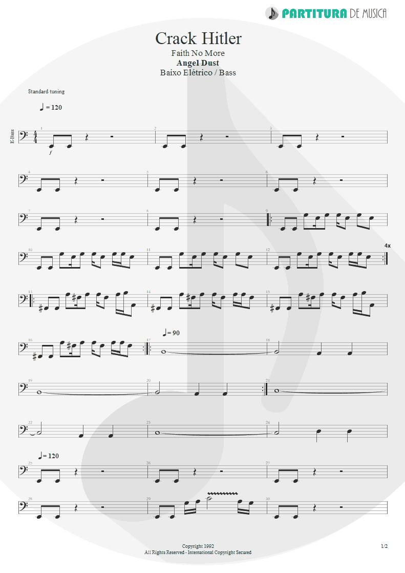 Partitura de musica de Baixo Elétrico - Crack Hitler | Faith No More | Angel Dust 1992 - pag 1