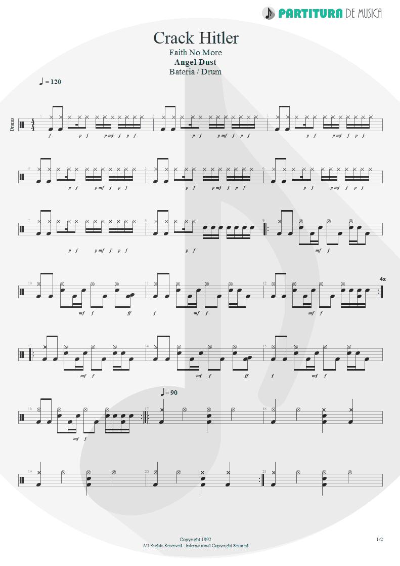 Partitura de musica de Bateria - Crack Hitler | Faith No More | Angel Dust 1992 - pag 1