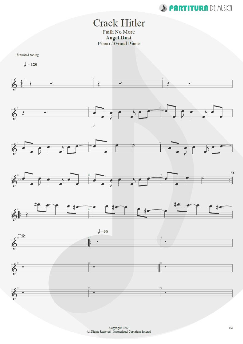 Partitura de musica de Piano - Crack Hitler | Faith No More | Angel Dust 1992 - pag 1