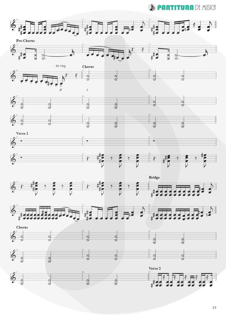 Partitura de musica de Guitarra Elétrica - Everything's Ruined | Faith No More | Angel Dust 1992 - pag 2