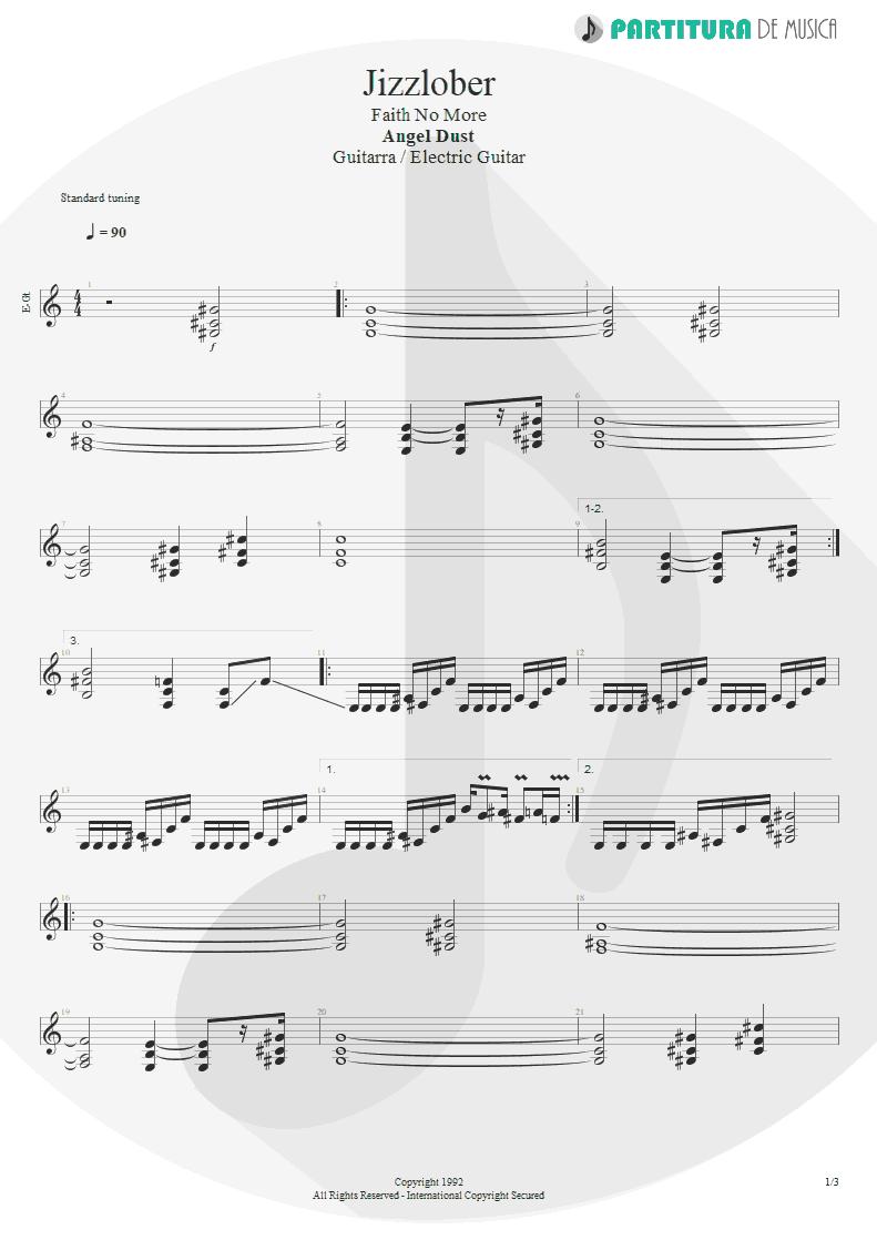 Partitura de musica de Guitarra Elétrica - Jizzlobber | Faith No More | Angel Dust 1992 - pag 1