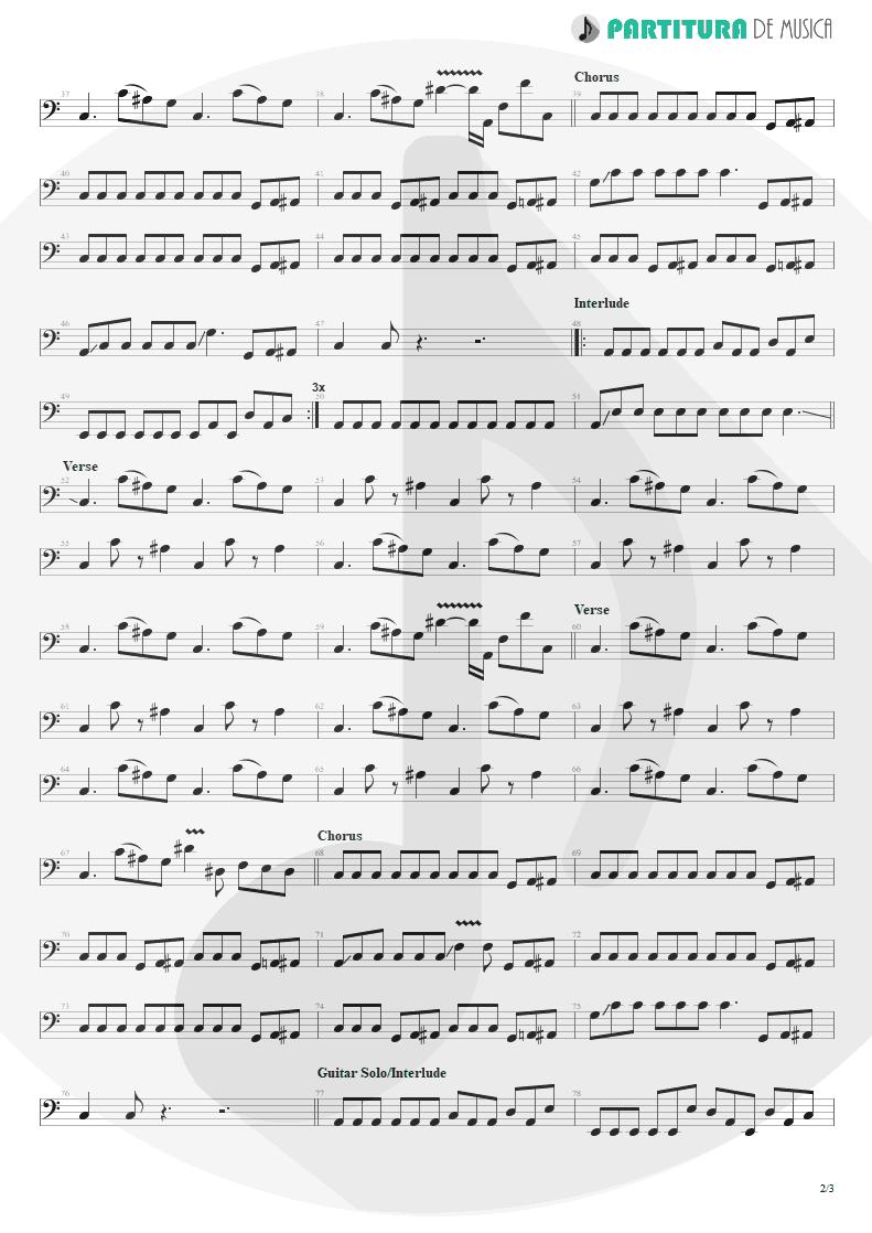 Partitura de musica de Baixo Elétrico - Land Of Sunshine   Faith No More   Angel Dust 1992 - pag 2