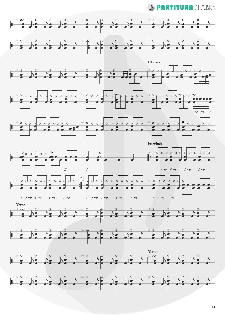 Partitura de musica de Bateria - Land Of Sunshine | Faith No More | Angel Dust 1992 - pag 2