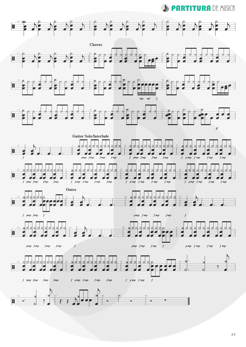 Partitura de musica de Bateria - Land Of Sunshine | Faith No More | Angel Dust 1992 - pag 3