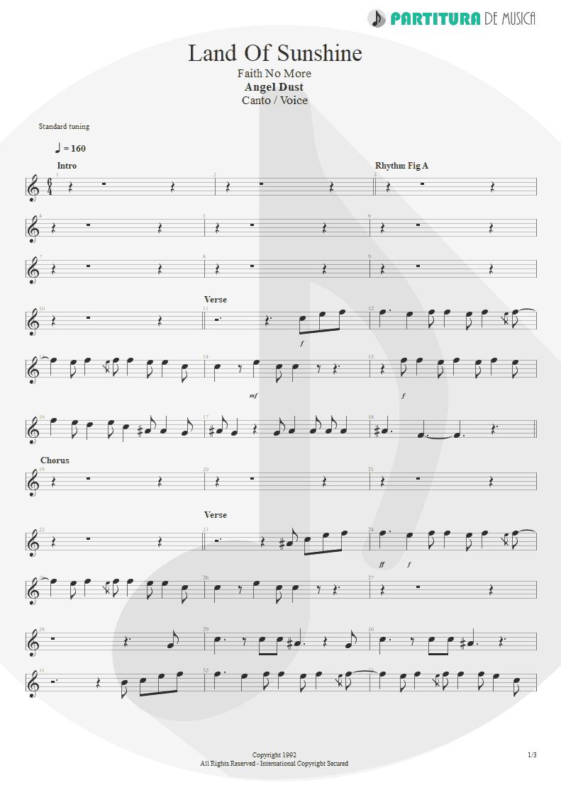 Partitura de musica de Canto - Land Of Sunshine   Faith No More   Angel Dust 1992 - pag 1