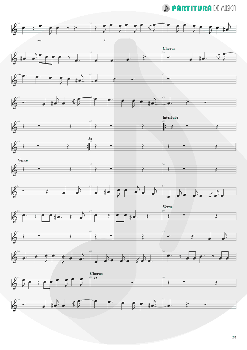 Partitura de musica de Canto - Land Of Sunshine | Faith No More | Angel Dust 1992 - pag 2