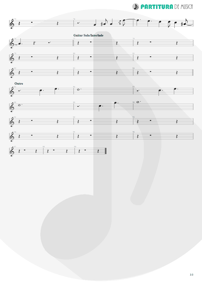 Partitura de musica de Canto - Land Of Sunshine | Faith No More | Angel Dust 1992 - pag 3