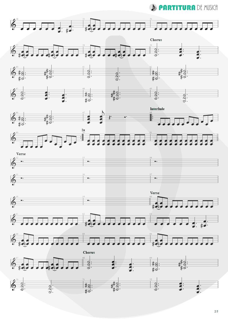 Partitura de musica de Guitarra Elétrica - Land Of Sunshine | Faith No More | Angel Dust 1992 - pag 2