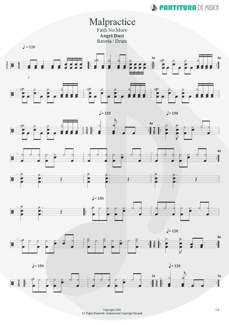 Partitura de musica de Bateria - Malpractice | Faith No More | Angel Dust 1992 - pag 1