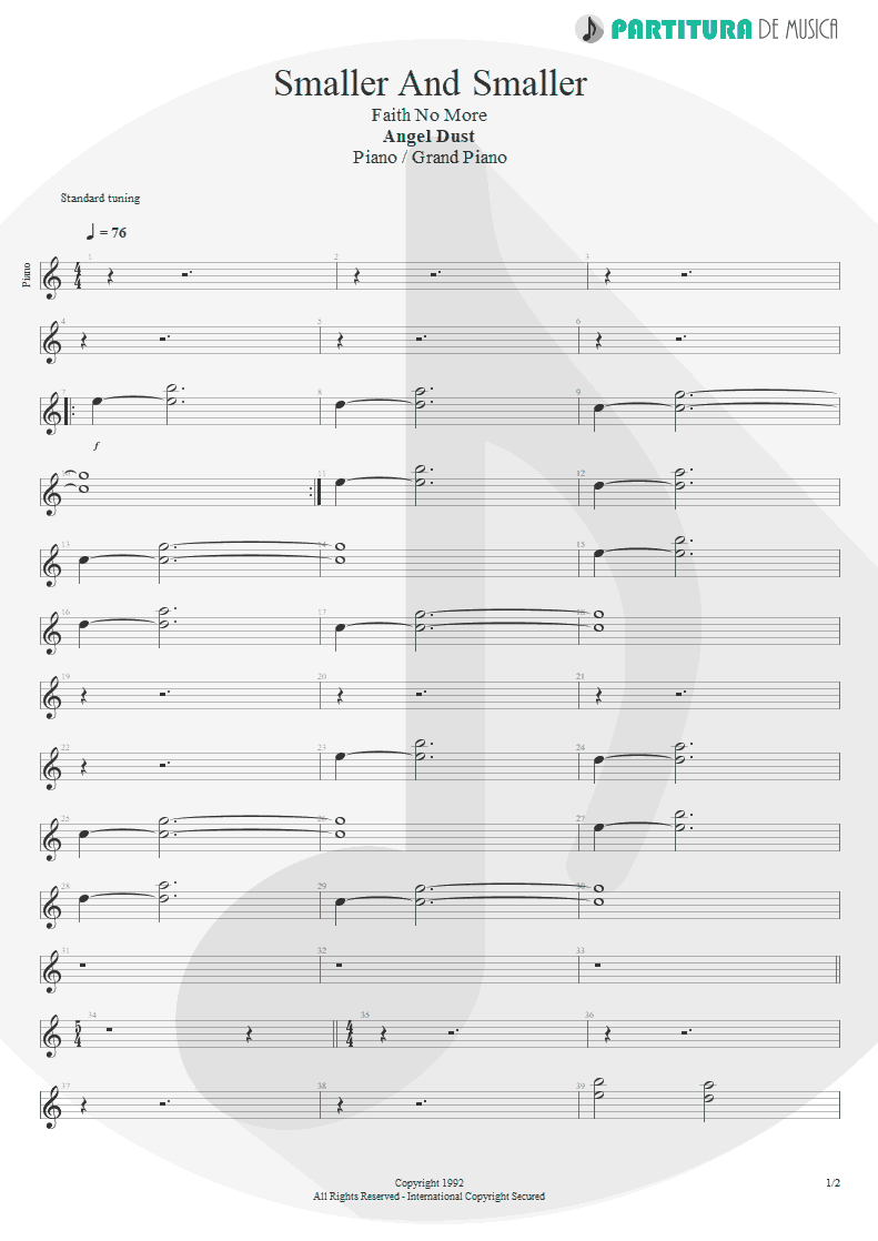 Partitura de musica de Piano - Smaller And Smaller | Faith No More | Angel Dust 1992 - pag 1