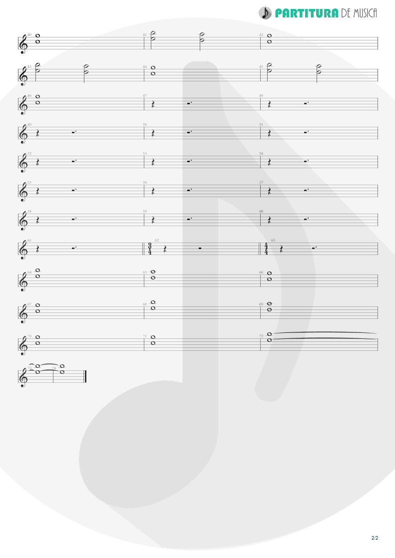 Partitura de musica de Piano - Smaller And Smaller | Faith No More | Angel Dust 1992 - pag 2