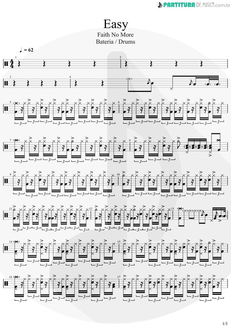Partitura de musica de Bateria - Easy | Faith No More | Easy 1993 - pag 1