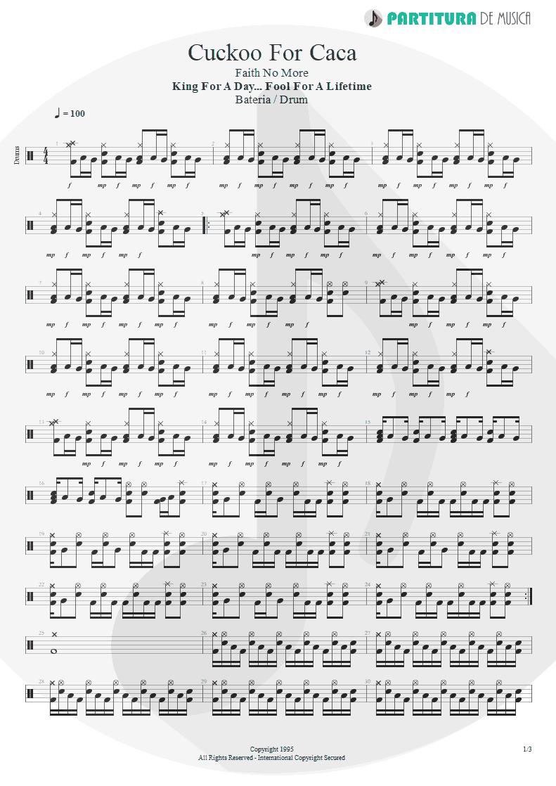 Partitura de musica de Bateria - Cuckoo For Caca | Faith No More | King for a Day... Fool for a Lifetime 1995 - pag 1