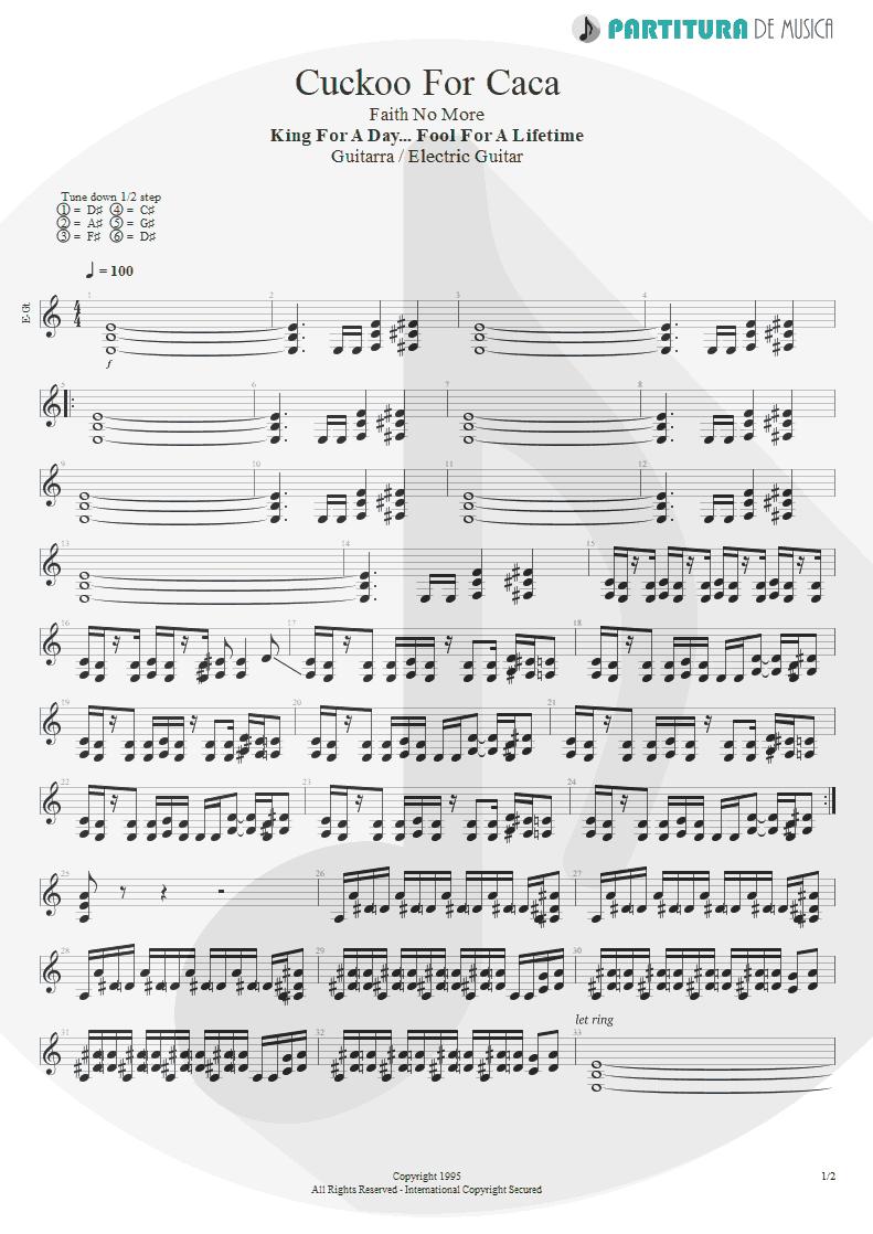 Partitura de musica de Guitarra Elétrica - Cuckoo For Caca | Faith No More | King for a Day... Fool for a Lifetime 1995 - pag 1