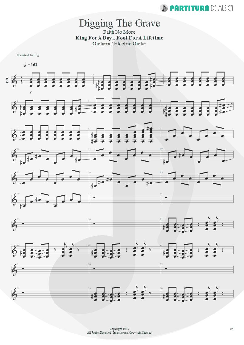 Partitura de musica de Guitarra Elétrica - Digging The Grave | Faith No More | King for a Day... Fool for a Lifetime 1995 - pag 1